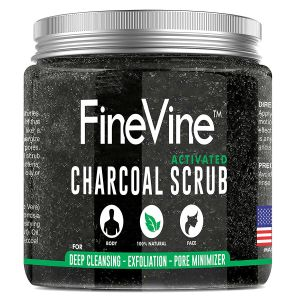 fine vine activated charcoal scrub