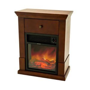 FLAMEandSHADE Electric Fireplace with Mantel TV Stand