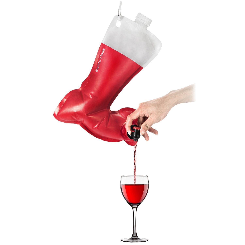 Christmas stockings holiday socks funny wine flask