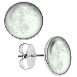 Glow in the Dark Super Full Moon Unisex Earrings by LilMents