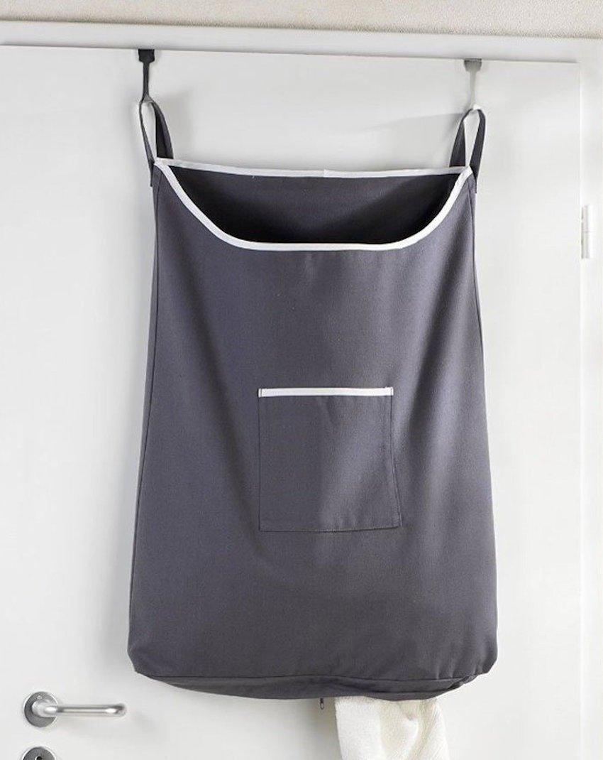 laundry basket bag hamper slim small spaces hanging back of door
