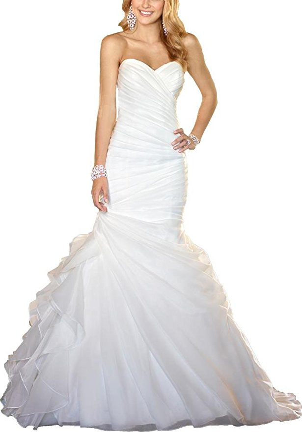 cheap wedding dresses best bridal gowns amazon under $200 layered mermaid