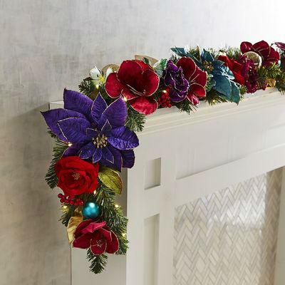 Pre_Lit_Glistening Gardens Faux Floral Garland