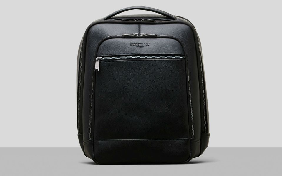 Saffiano Leather Double Compartment Backpack