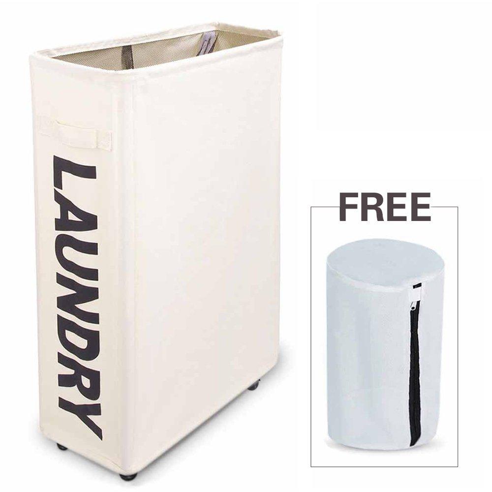 laundry basket bag hamper slim small spaces slide canvas rolling