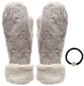 Women's Wool Blend Cable Knitted Mittens Ivory by J Fashion Accessories