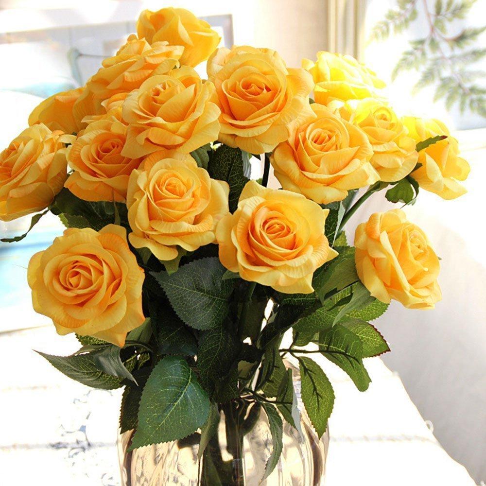 artificial flowers best arrangements silk fake yellow roses