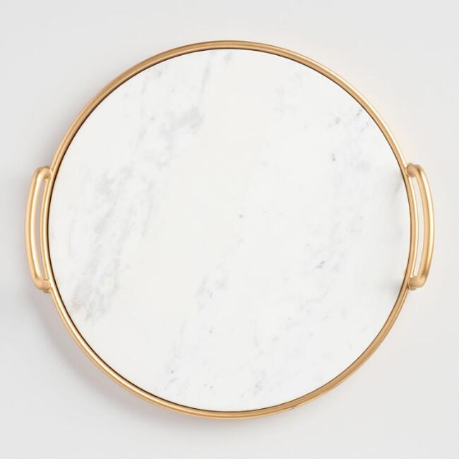 marble and gold serving platter