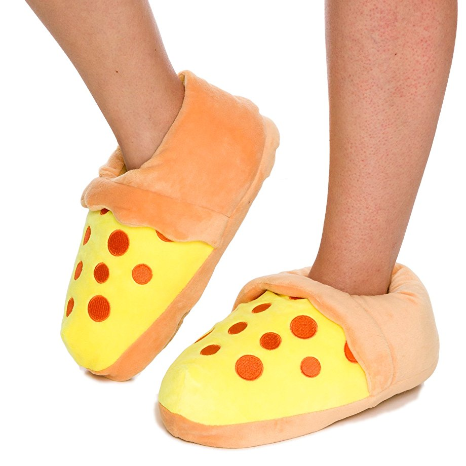 funny slippers under $20 cheap warm feet pizza slices