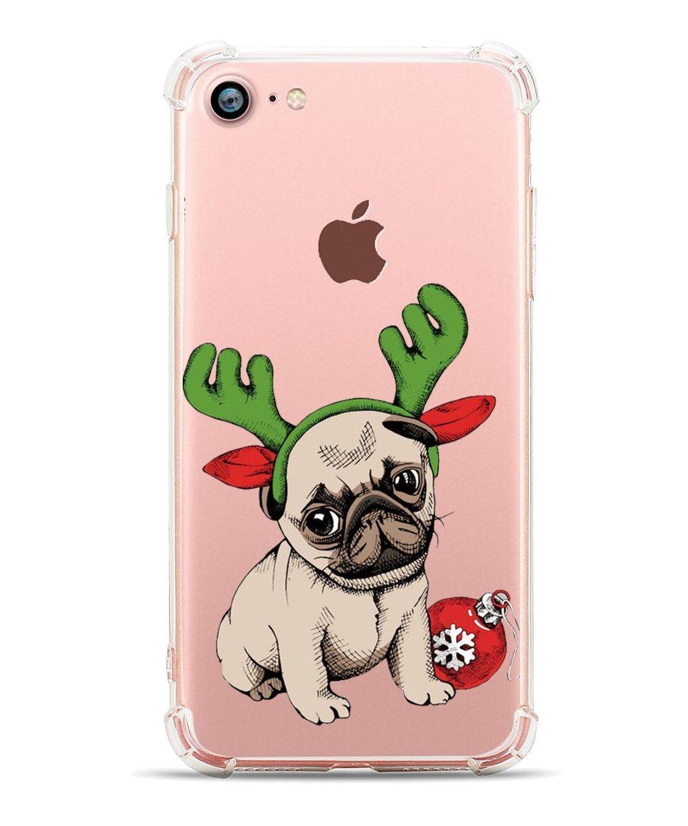 Christmas phone case best dog pug iphone 8 7