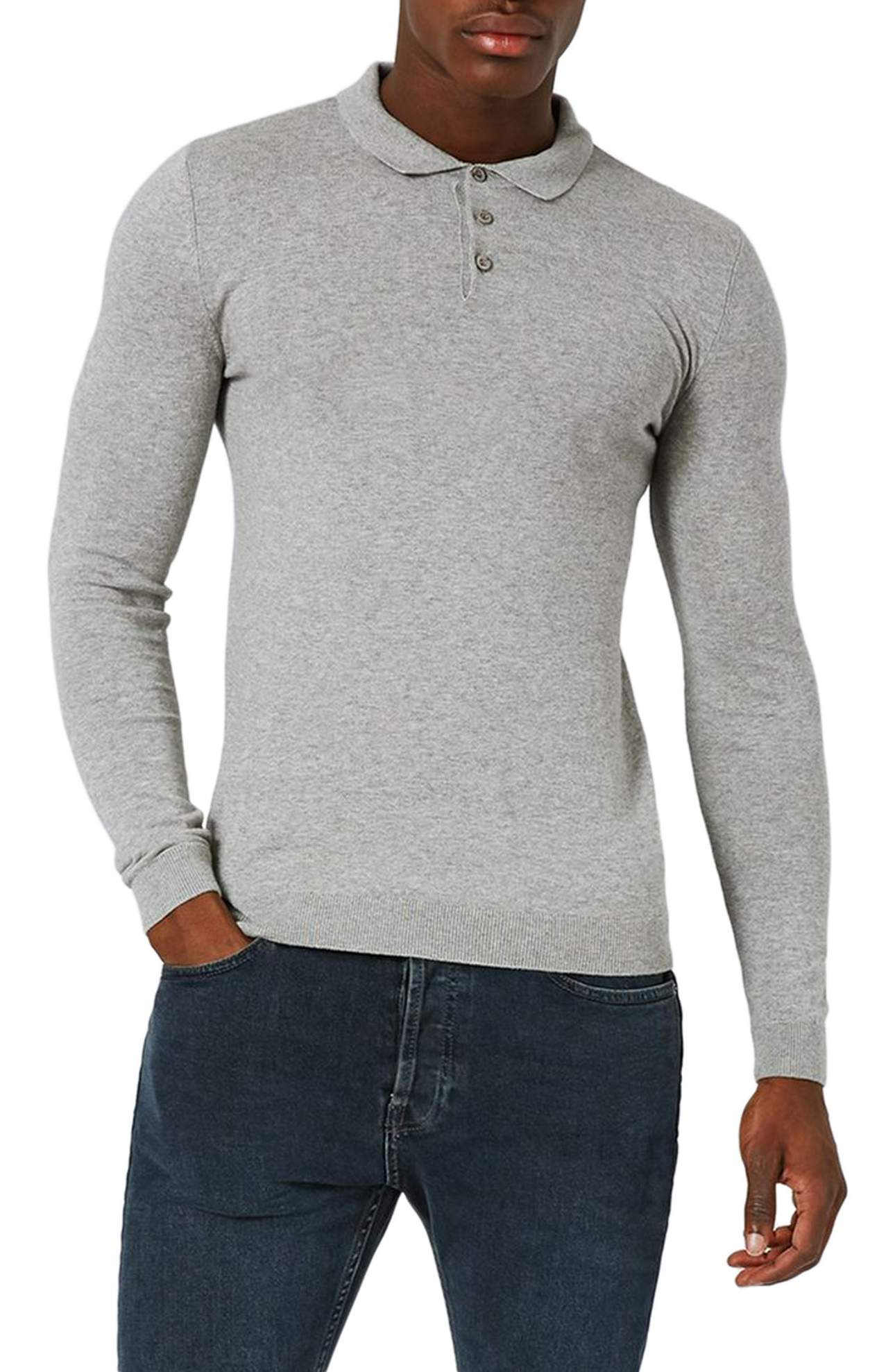 Topman Muscle Fit Polo Sweater