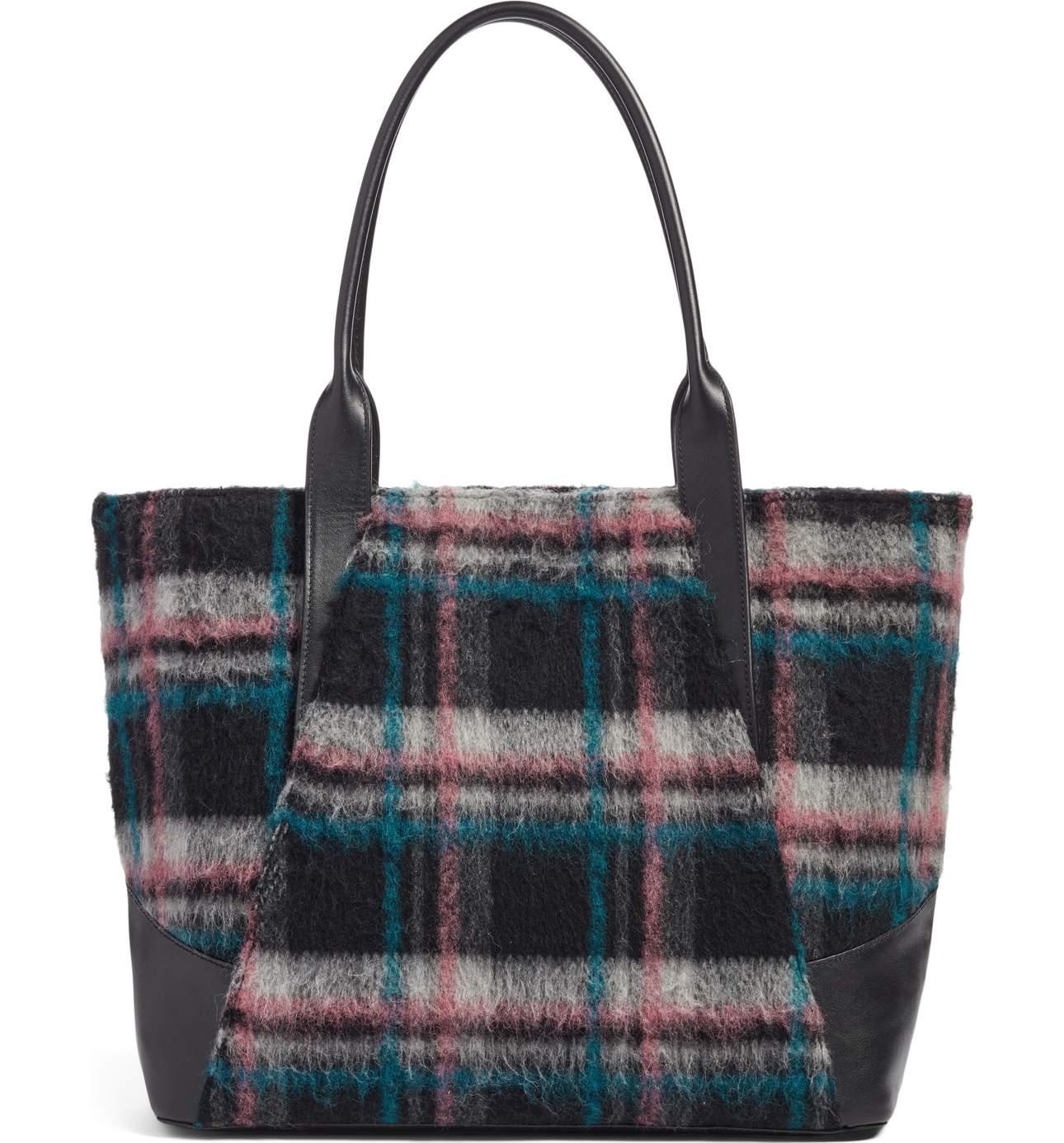 Treasure & BondAshton Plaid Wool & Leather Tote