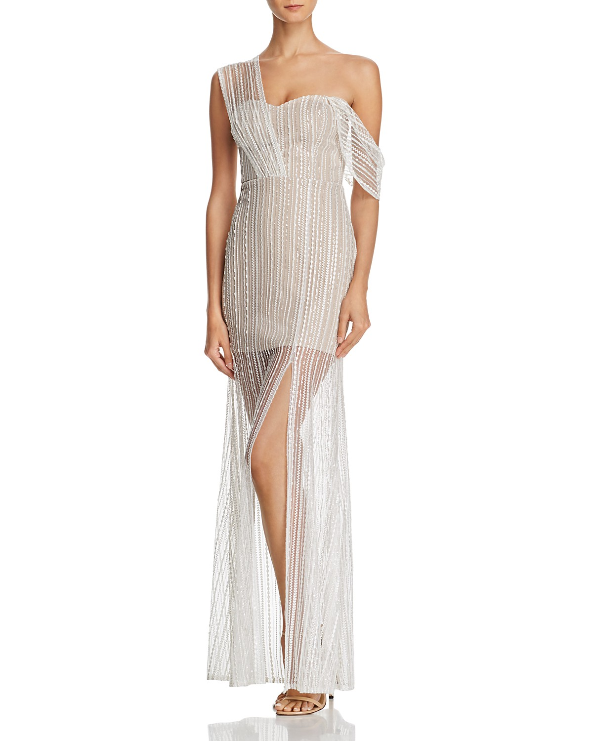 the greatest showman zendaya x aqua capsule collection embroidered one-shoulder gown