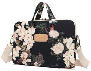 "14""-15"" Black Peony Waterproof Laptop Messenger Bag by Dachee"
