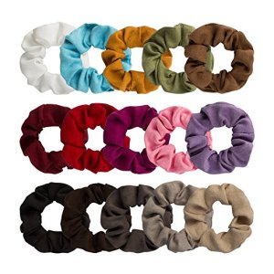 15 Pack Suede Scrunchies by Jaciya Hero