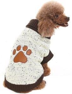 BINGPET Dog Turtleneck Sweater W/Brown Paw