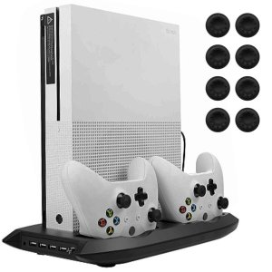 Lictin Xbox One S Vertical Cooling Fan with Dual Charging Station