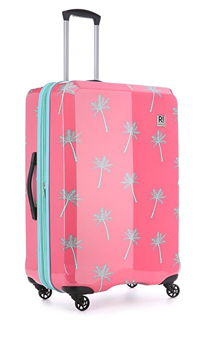 bright luggage how to never lose suitcase hardside spinner palm trees pink