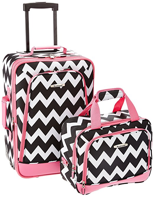 bright luggage how to never lose suitcase pink chevron 2 piece set
