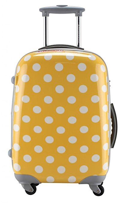 bright luggage how to never lose suitcase yellow polka dots hardside spinner rolling