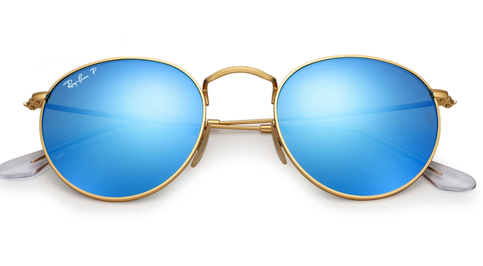 ray-ban round frames flash lenses