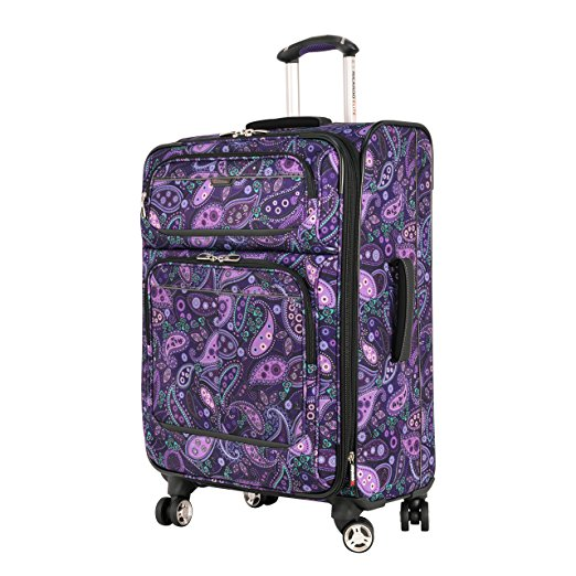 bright luggage how to never lose suitcase purple paisley rolling