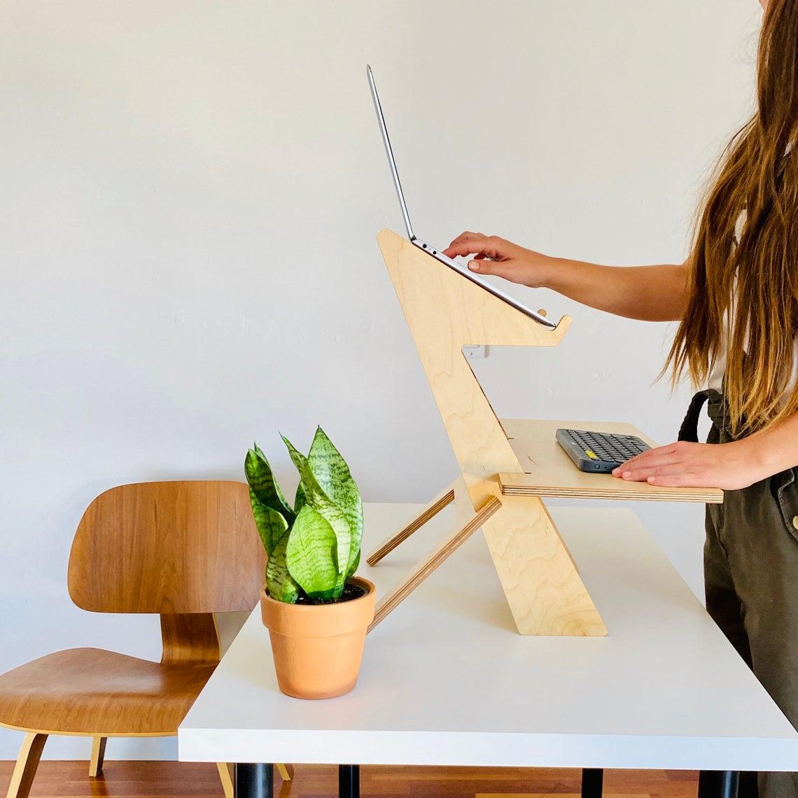 Modern wood standing desk converter; cool office supplies