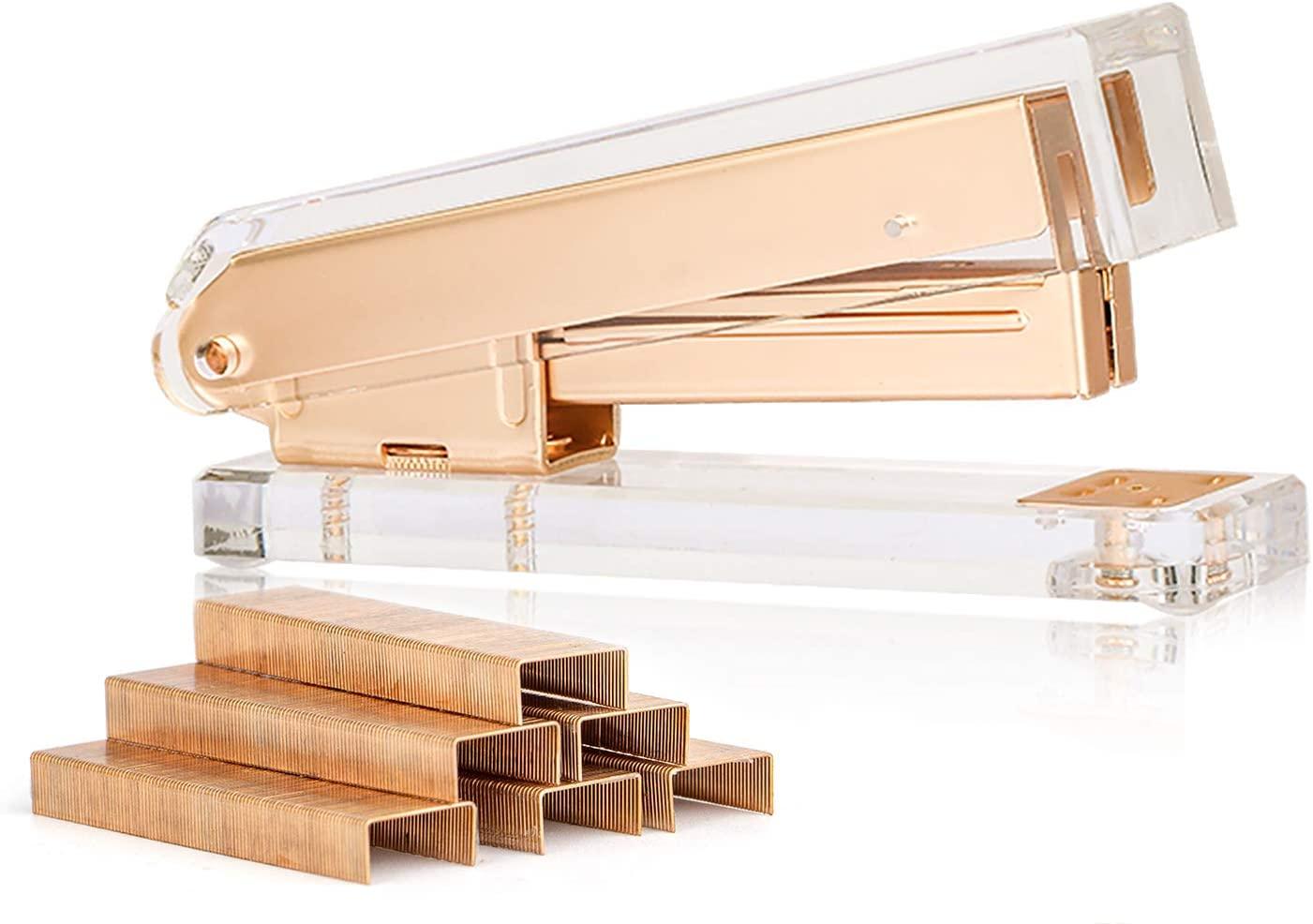 Sirmedal Elegant Clear Acrylic Matte Gold Office Stapler