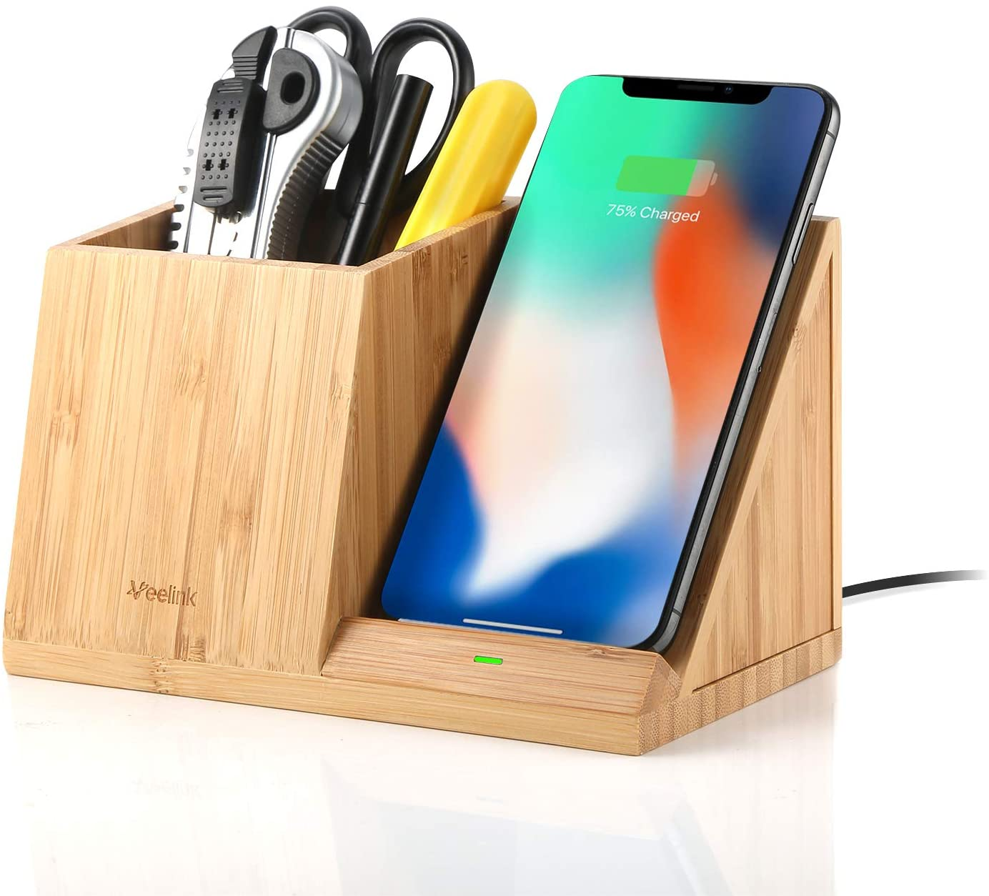 Veelink Bamboo Wireless Charger with Organizer; cool office supplies