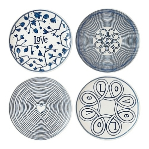 "ED Ellen DeGeneres Crafted by Royal Doulton Ed ""Blue Love"" 8-Inch Plates Mixed (Set of 4)"