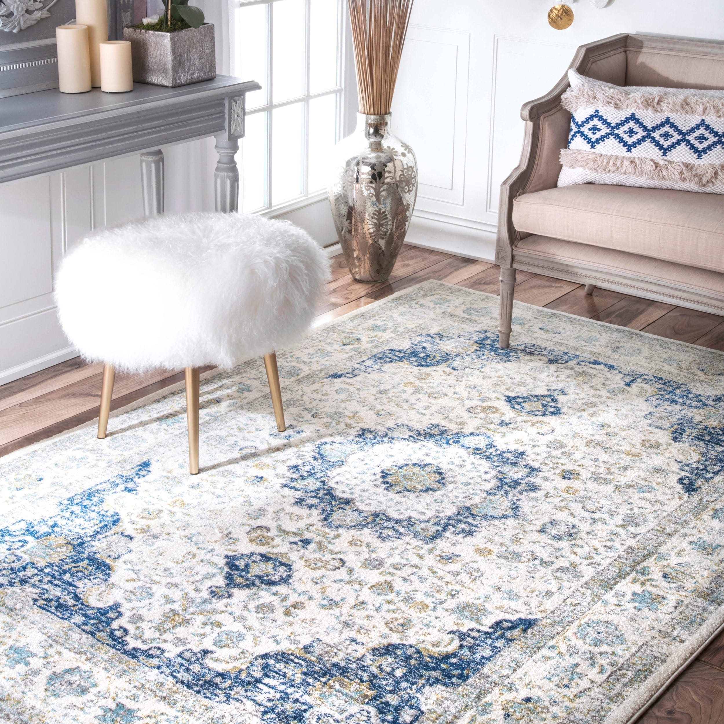 vintage rugs best persian-inspired on sale blue white persian nuloom