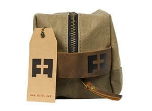 Waxed Cotton Canvas shave and toiletries dopp kit