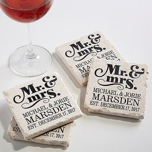 Coaster Set Personalized, unique wedding gift ideas