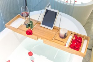Bamburoba Bamboo Bathtub Caddy Tray