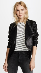 Black Leather Jacket Shawl Collar