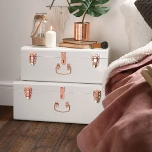 Beautify Cream Vintage Style Steel Metal Storage Trunk Set