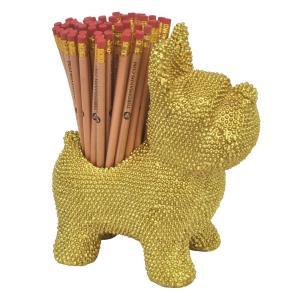 Pencil Holder Gold Dog
