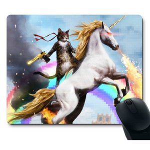 Rambo Cat on a Unicorn mousepad by Apottwal