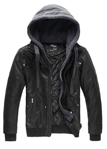 Leather Jacket Hoodie Men's