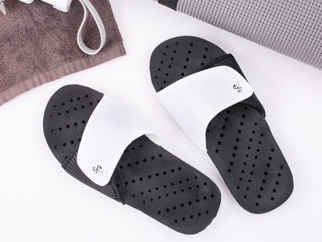 black and white shower shoes
