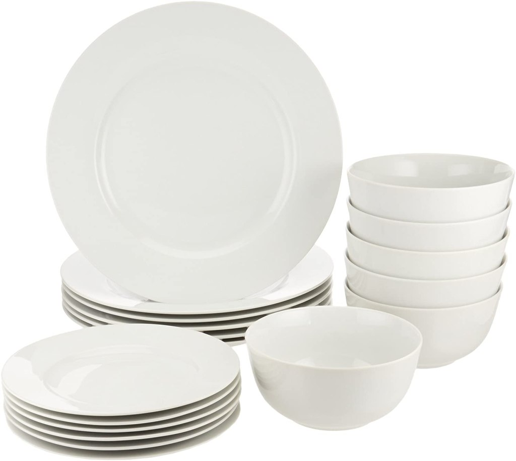 AmazonBasics 18-Piece White Kitchen Dinnerware Set, unique wedding gift ideas