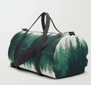 forest print duffle bag