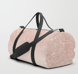glitter rose gold pink ombre duffle bag