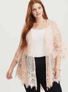 Pale Pink Scalloped Lace Kimono Torrid