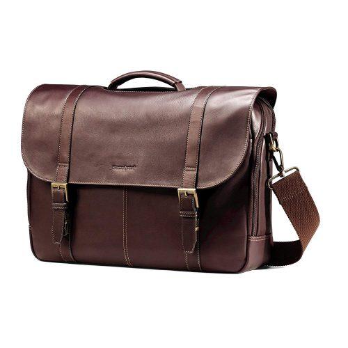 Samsonite Columbia Leather Flapover Briefcase.