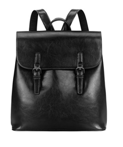 Leather Backpack Black Flap-Top