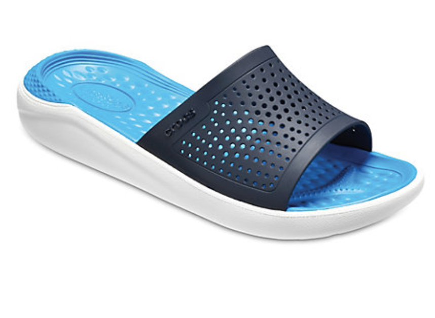 light blue croc shower shoes