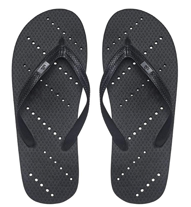 black shower flip flops