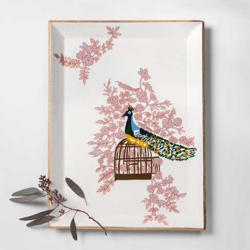 target furniture favorites home decor collection opalhouse mango wood painted peacock tray