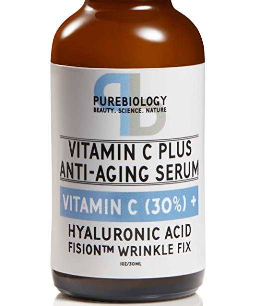 face serums best-selling vitamin C Amazon under $25 pure biology plus anti-aging hyaluronic acid wrinkle fix